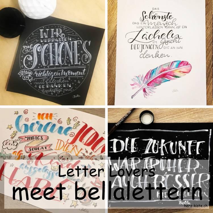 bellalettern zu Gast im Lettering Interview bei den Letter Lovers - Titelbild mit verschiedenen Letterings