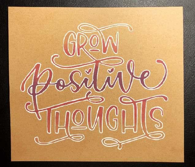 grow positive thoughts - so erstellst du ein buntes Lettering auf Kraftpapier