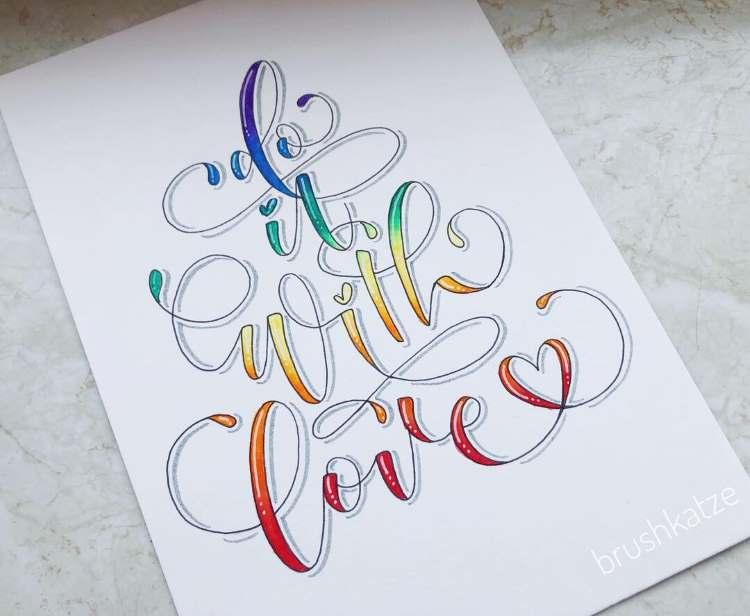 Handlettering mit Farbverlauf und Schnörkel: do it with love