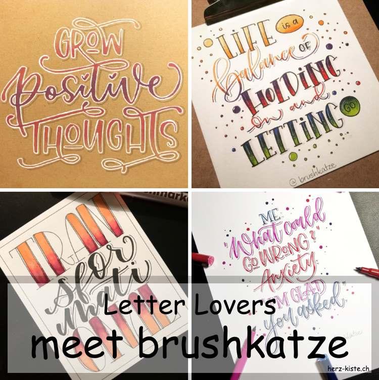 Brushkatze zu Gast im Lettering Interview mit einer Anleitung für ein buntes Lettering auf Kraftpapier
