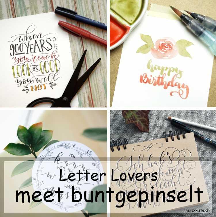 Collage von verschiedenen Letterings von buntgepinselt