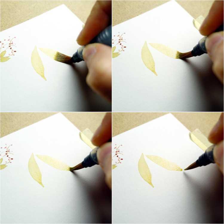 blätter für eine Aquarell Blume malen - Schritt für Schritt