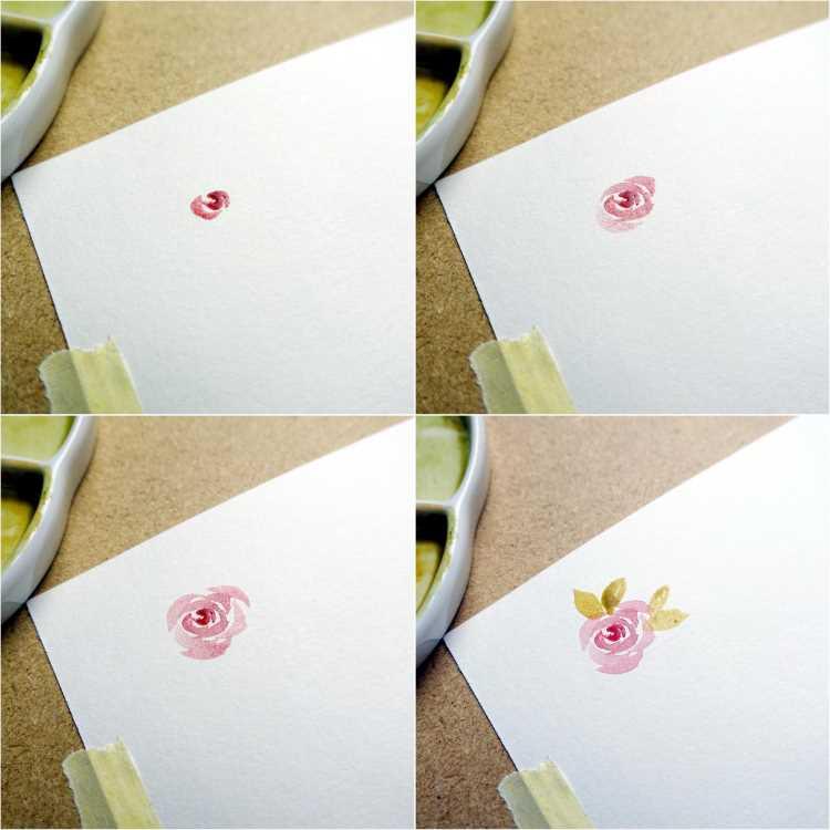 Schritt für Schritt Entwicklung einer einfachen Aquarell Blume - Rose