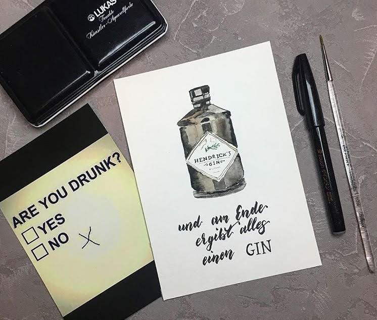 und am Ende ergibt alles einen Gin - Handlettering mit Ginflasche als Aquarellbild