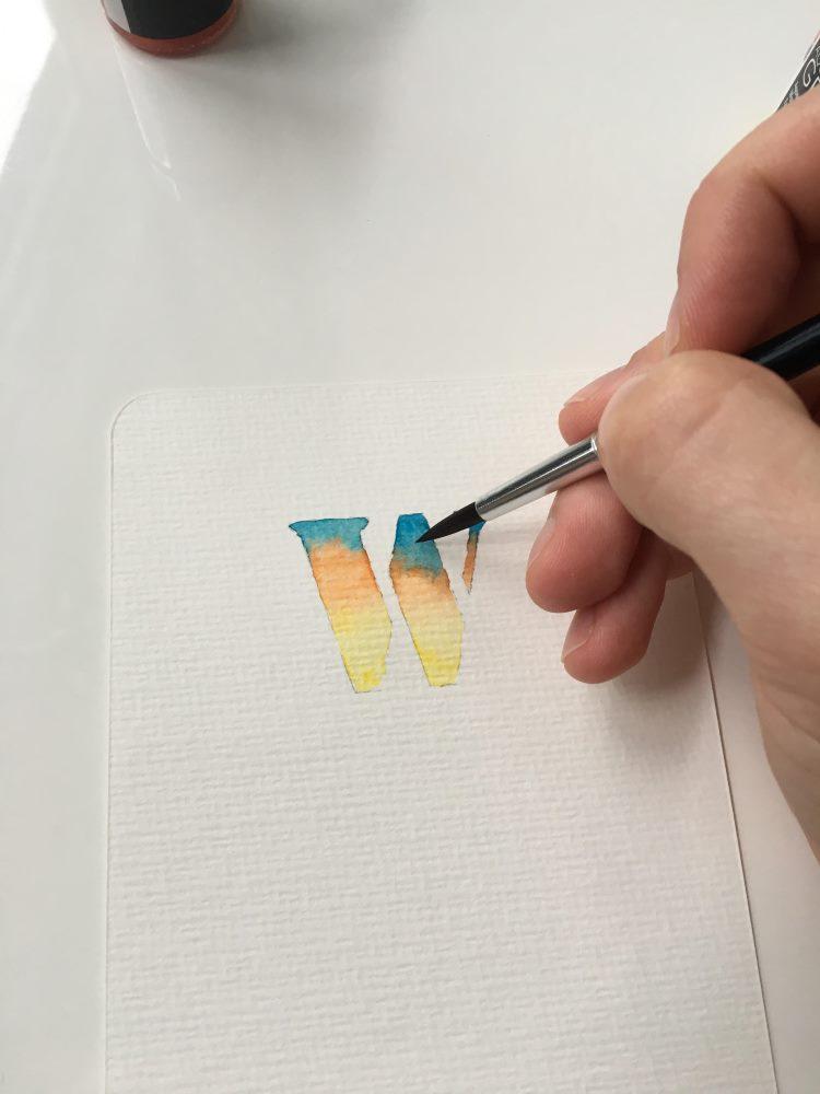 Buchstaben W aquarellieren