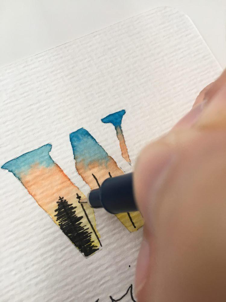 W - Illustration eines Waldes im Buchstaben