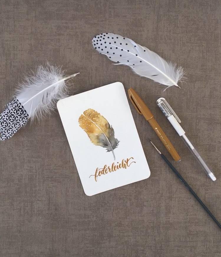 federleicht - Handlettering mit Illustration einer Feder