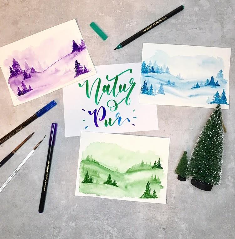 Natur pur - Handlettering mit verschiedenen Illustrationen Landschaften Natur Wald