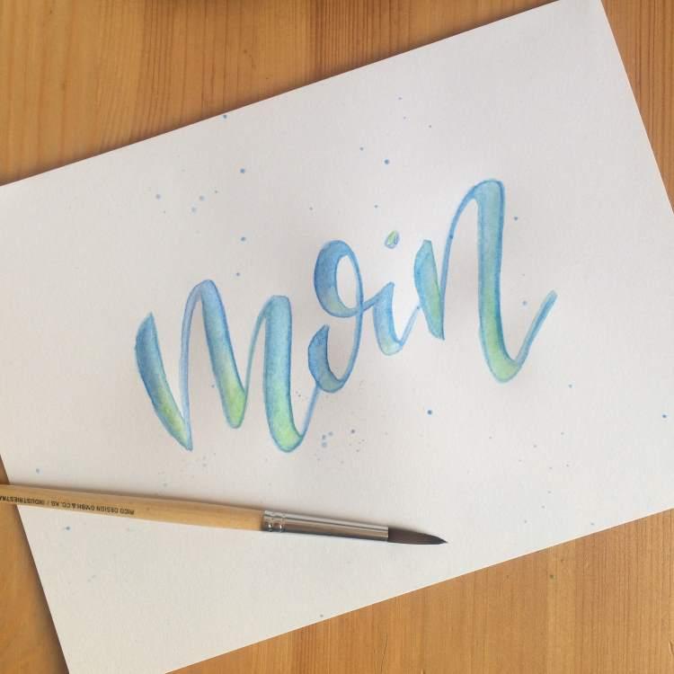 moin - Handlettering mit Faux Calligraphy und aquarellierbaren Buntstiften