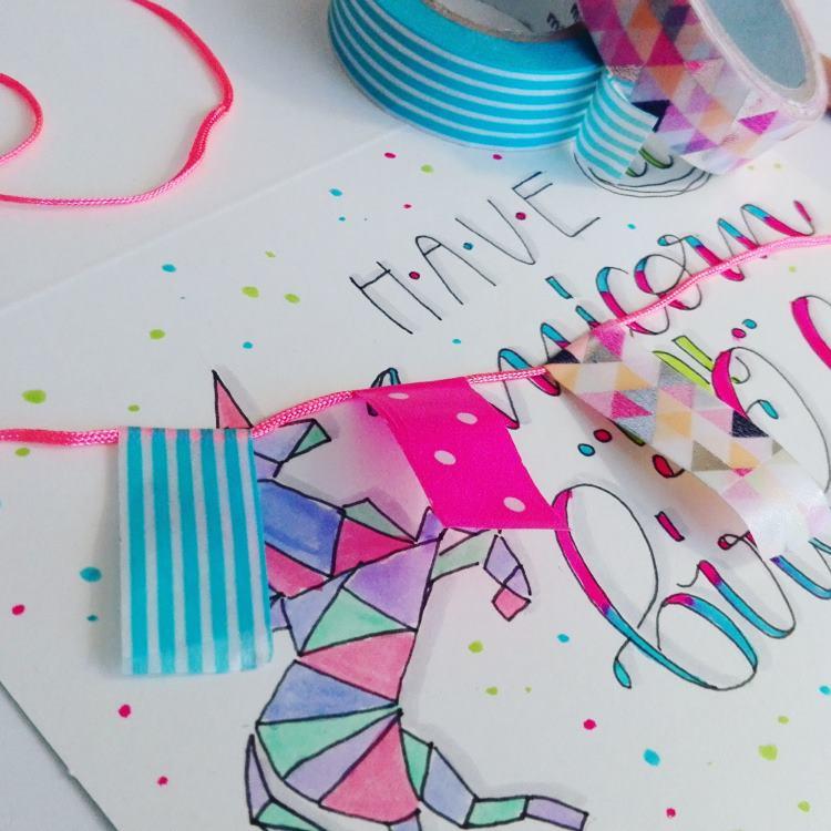 Geburtstagskarte mit Wimpeln aus Washitape