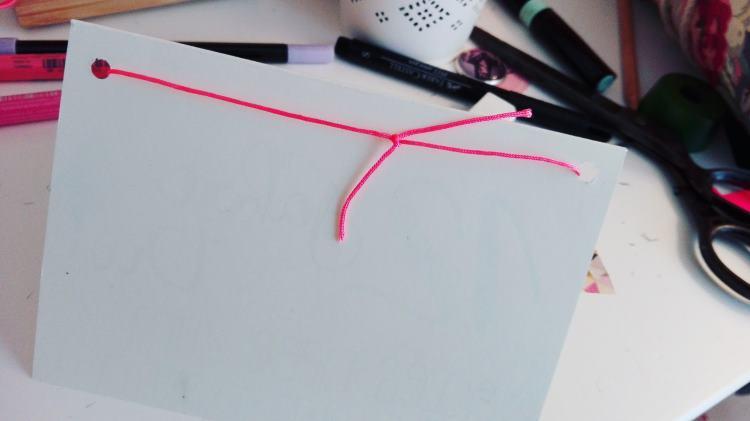 Geburtstagskarte mit Wimpelkette - auf der Rückseite verknoten