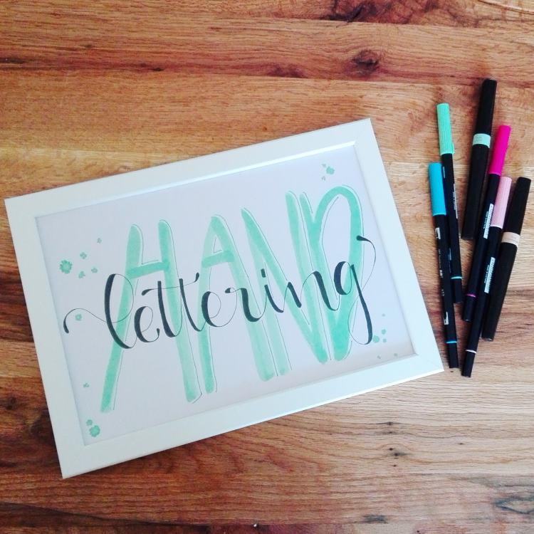 Hand Lettering in einem Bilderrahmen