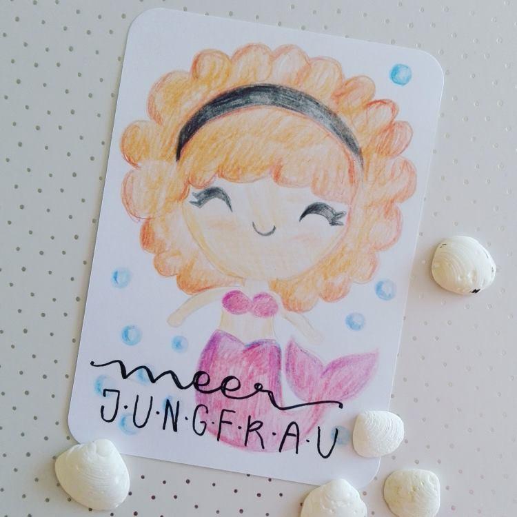 Lettering mit Zeichnung: Meerjungfrau
