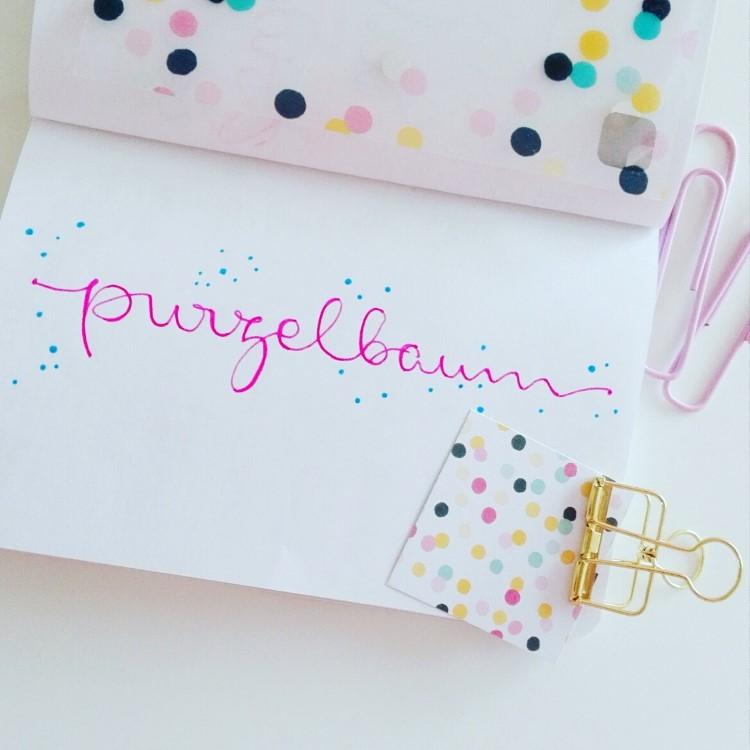 pinkes Handlettering: purzelbaum