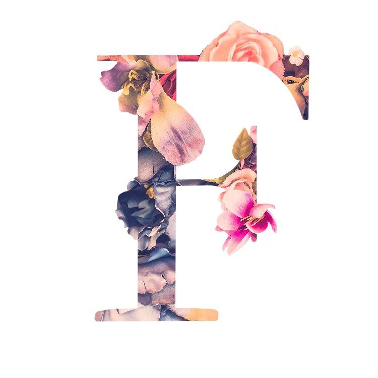 Buchstabe F mit Blumen und Blüten