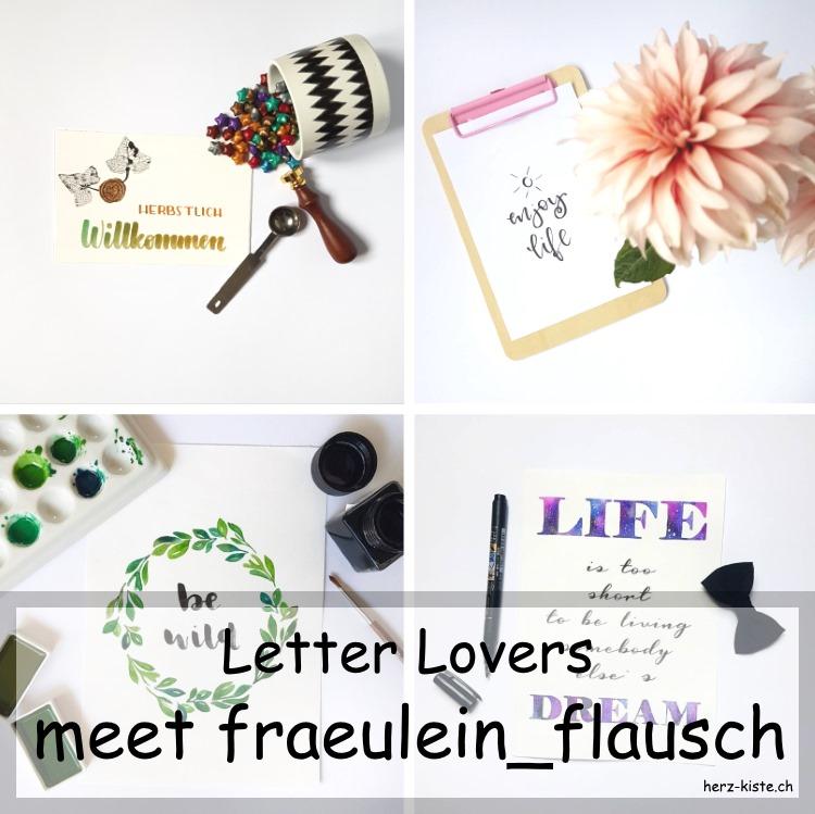 Zusammenstellung von mehreren Letterings von fraeulein_flausch - Titelbild für ein Lettering Interview