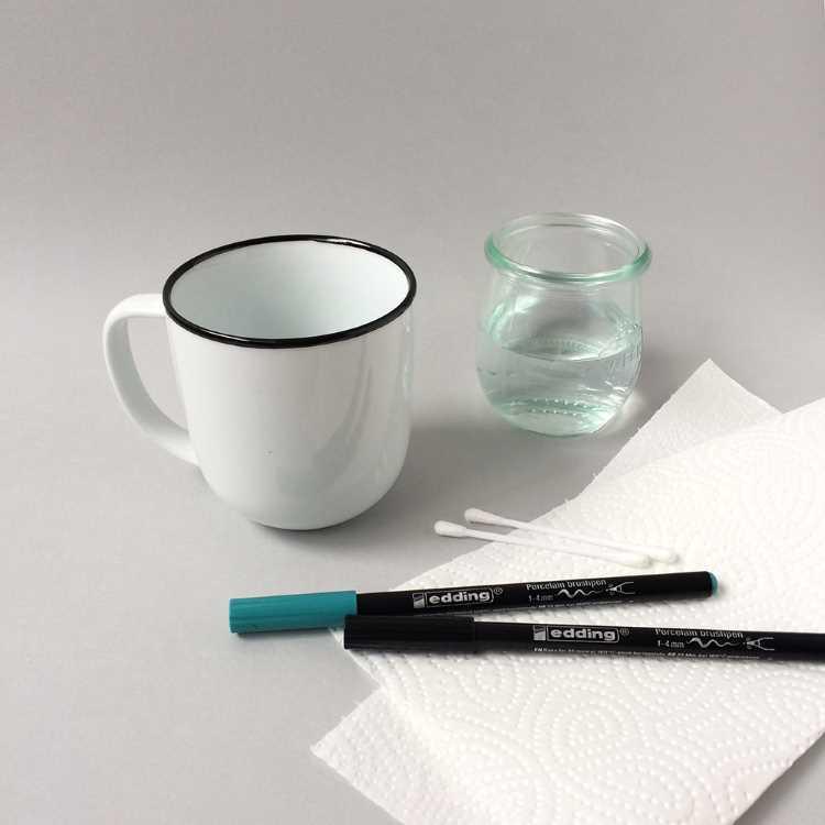 Material um eine Tasse zu belettern