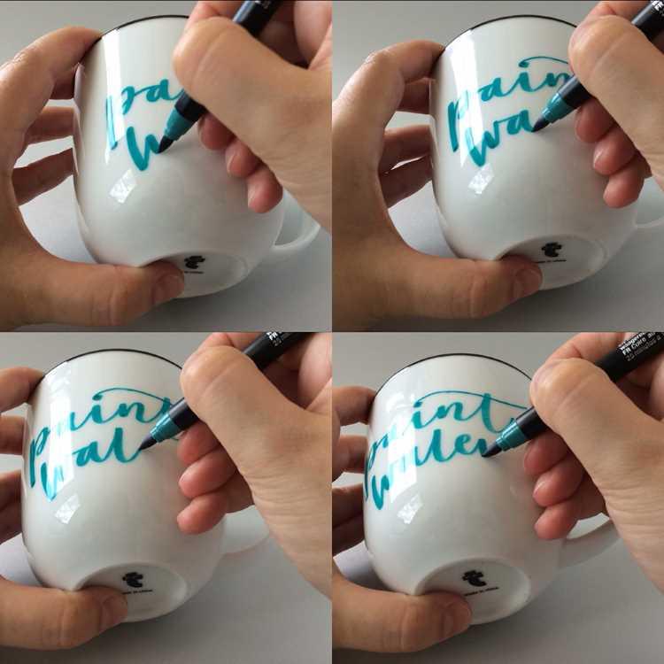 Schritt für Schritt Anleitung eines Letterings auf einer Tasse