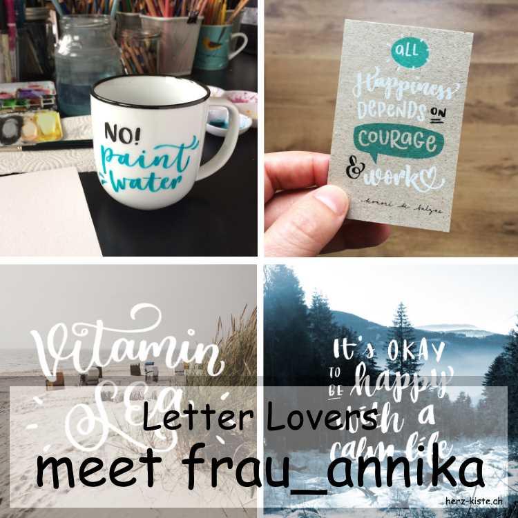 verschiedene Letterings von frau_annika als Titelbild zum Interview mit der Lettering-Künstlerin