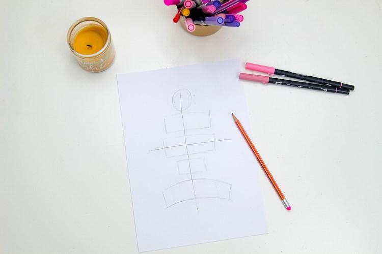 grobe Skizze für einen Lettering Spruch zum gestalten