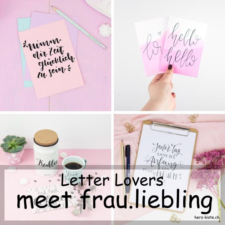 Verschiedene Letterings von frau.liebling die im Lettering Interview der Letter Lovers zu Gast ist