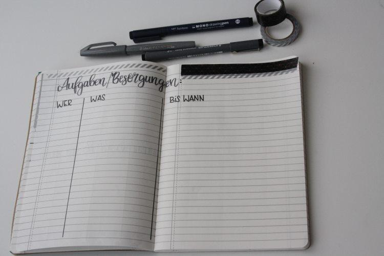 Weihnachten planen mit Aufgaben / Besorgungen im Weihnachtsplaner bullet journal