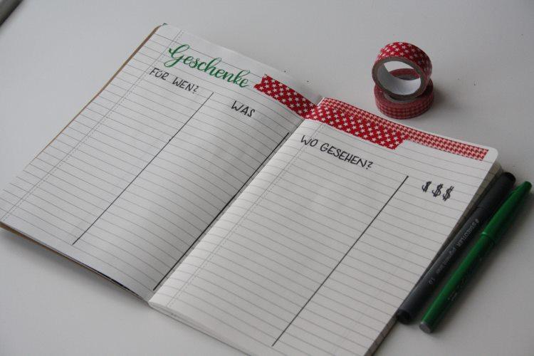 Bullet Journal Liste - Geschenke zu Weihnachten