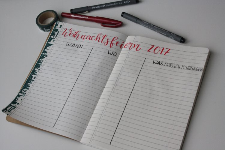 Weihnachtsfeiern Liste im Weihnachtsplaner Bullet Journal
