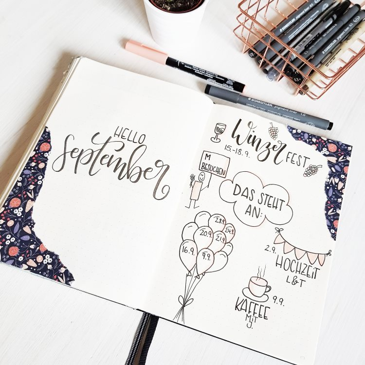 hello September - Handlettering im Bullet Journal