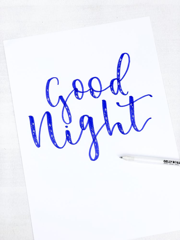 good night - Brushlettering mit Sterncheneffekt