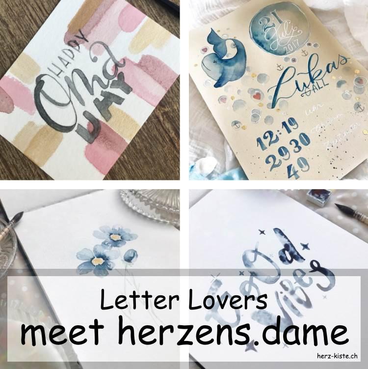 verschiedene Letterings von herzens.dame die zu Gast ist im Interview rund ums Handlettering bei den Letter Lovers