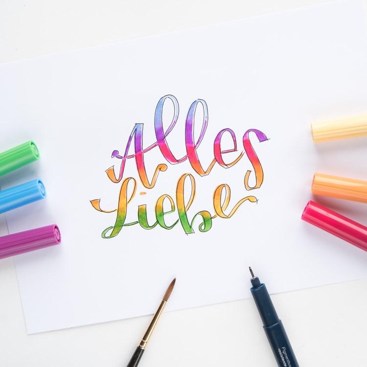 Alles Liebe - Buntes Handlettering mit Farbverlauf