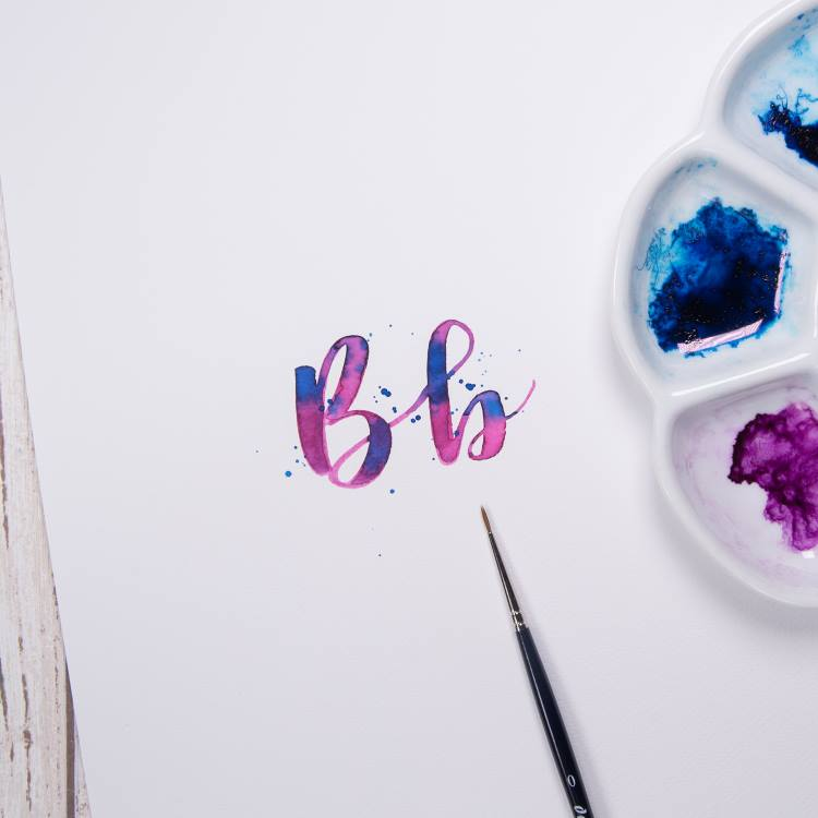 Brushlettering Buchstabe B mit Watercolor