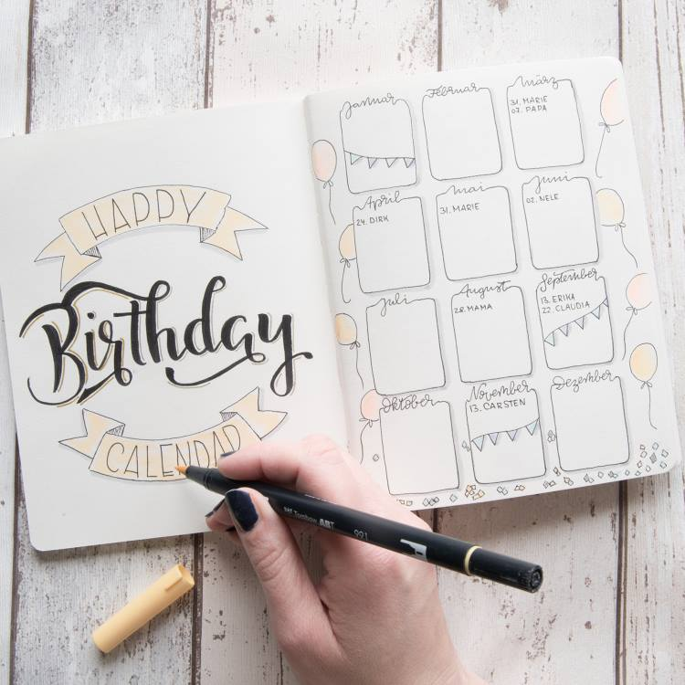 Happy Birthay - Geburtstagskalender in einem Bullet Journal