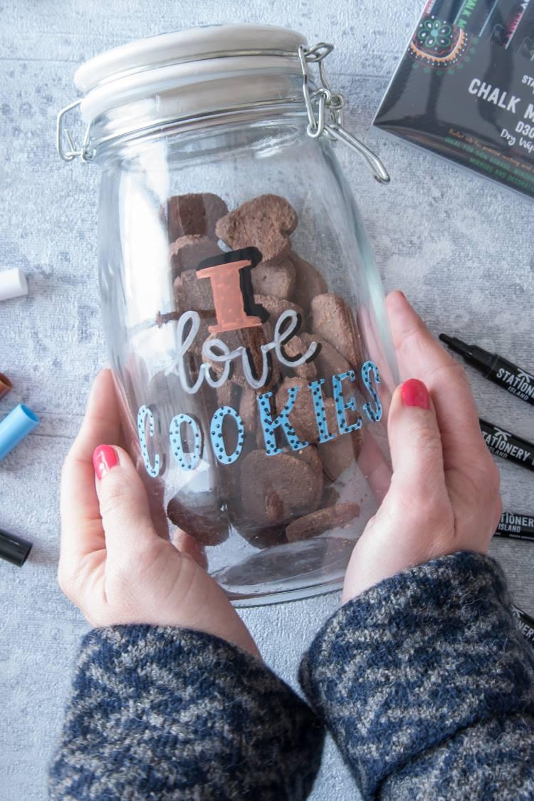 i love cookies - Lettering auf einem Vorratsglas