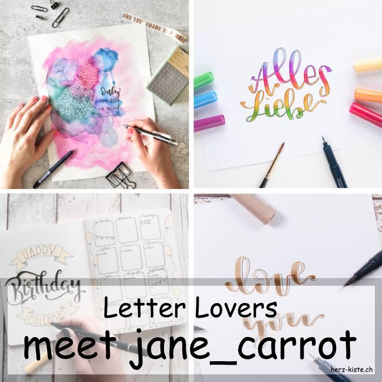 Zusammenstellung von verschiedenen Letterings von jane_carrot als Titelbild fürs Lettering Interview