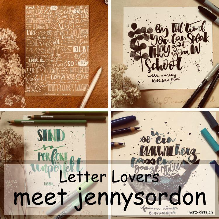 verschiedene Letterings von jennysordon als Titelbild fürs Lettering Interview