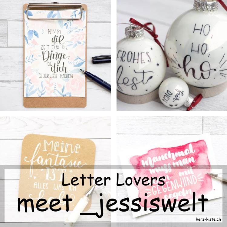 Collage mit verschiedenen Letterings von _jessiswelt als Titelbild für das Interview mit der Lettering Artistin
