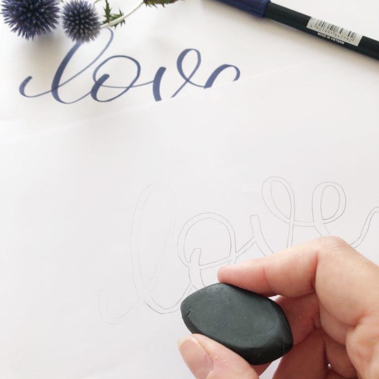 love - Handlettering mit Bleistift