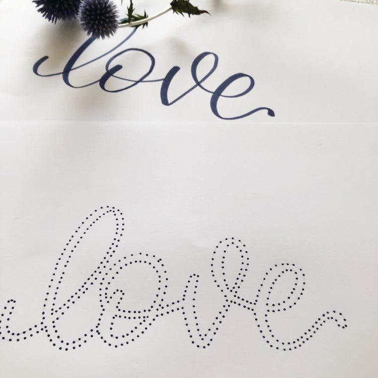Punktelettering Love