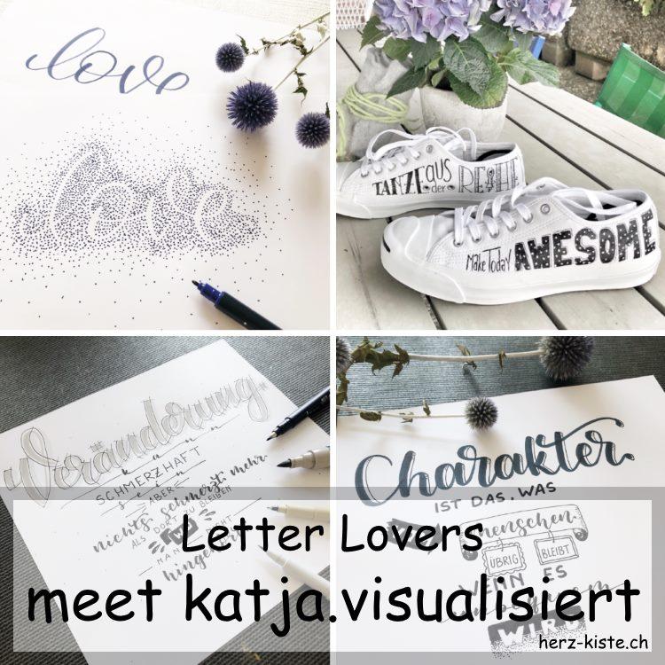 Letter Lovers - katja.visualisiert zu Gast im Lettering Interview mit einer Anleitung für ein Negativlettering mit Punkten