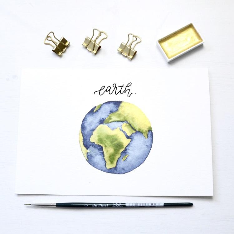 earth - Lettering mit einer Aquarell Erdkugel