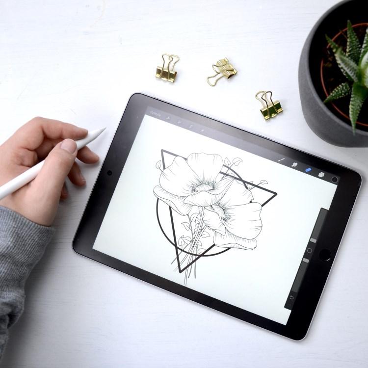 digitales Line Drawing Blumen