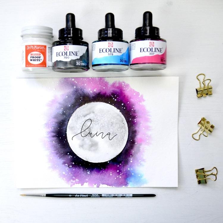 luna - Handlettering mit Watercolor Mond in bunten Farben
