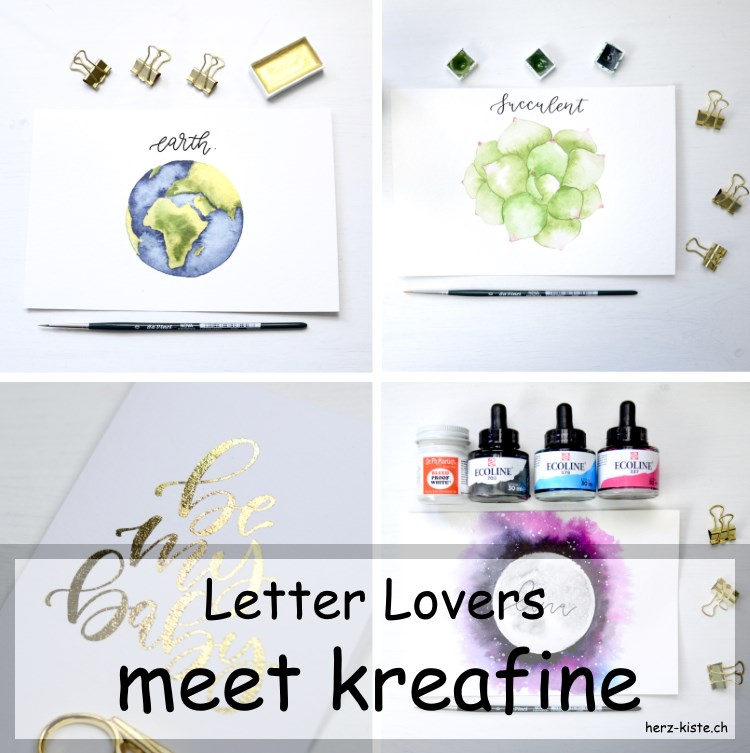 verschiedene Letterings von kreafine in einer Collage - Titelbild für das Lettering Interview der Letter Lovers