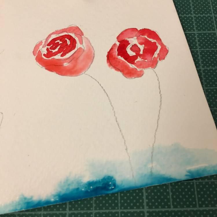 Aquarell Rosen Zwischenschritt