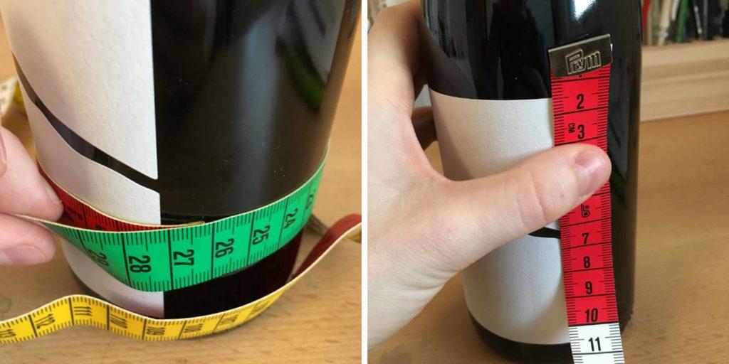 Weinflasche ausmessen um eine Weinbanderole selber zu machen