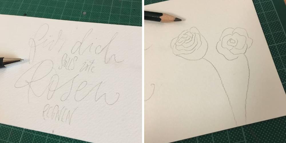 Skizze von einem Lettering und Aquarell Rosen