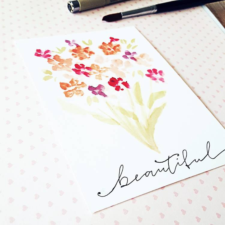 watercolor Blumenstraus mit Lettering: beautiful