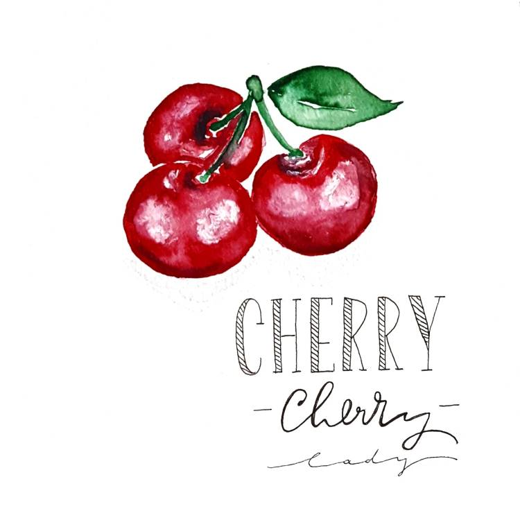 Watercolor Kirschen mit Lettering: Cherry cherry lady
